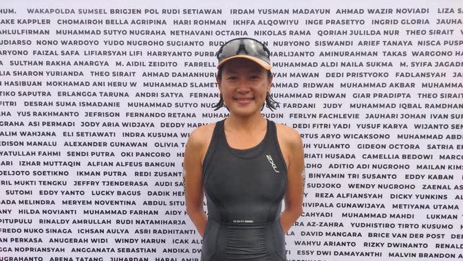 Inge Prasetyo, peraih waktu tercepat kategori Female Elite di Palembang Triathlon 2020 di hari pertama (Liputan6.com / Nefri Inge)