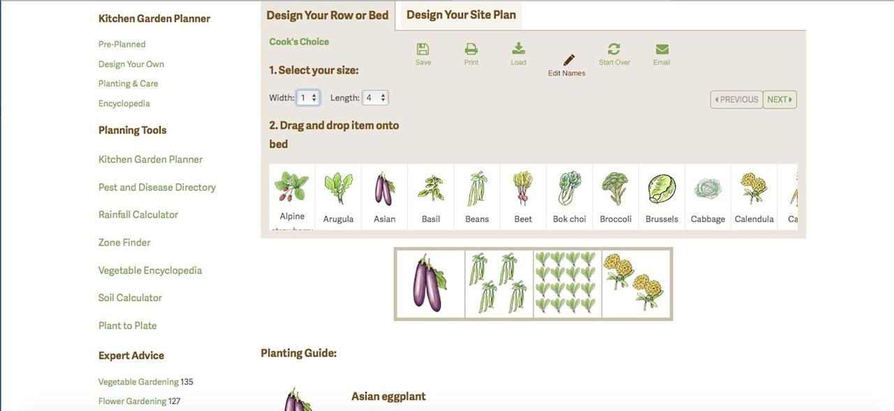 """<p>Need a layout for a new veggie garden? Use the free online planner to design a new bed or update an old one.  The planner is simple to use, and you even can save, e-mail, and print your design—a perk not all free programs allow. The planner also gives in-depth planting tips and even tells you how many plants or seeds to buy. It's an incredible tool for anyone interested in getting the most out of their edible garden.<br></p><p><a class=""""body-btn-link"""" href=""""https://www.gardeners.com/how-to/kitchen-garden-planner/kgp_home.html"""" target=""""_blank"""">GO TO WEBSITE</a></p>"""