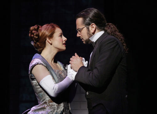 "This theater publicity image released by The Hartman Group shows Teal Wicks, left, and Constantine Maroulis during a performance of ""Jekyll & Hyde"" playing at the Marquis Theatre in New York. (AP Photo/The Hartman Group, Chris Bennion)"