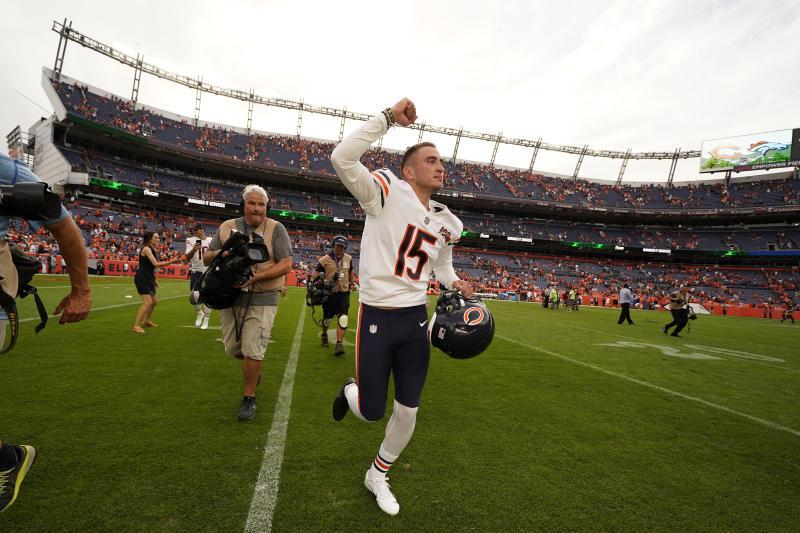 Chicago Bears kicker Eddy Pineiro (15) beat the Broncos with a 53-yard field goal, (AP)