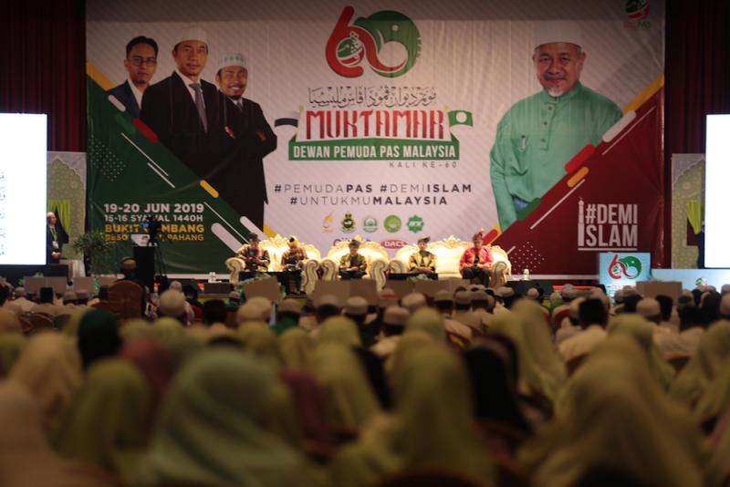 PAS party members attend Muktamar 2019 in Gambang, Pahang June 19, 2019. — Picture by Zamzahuri Abas