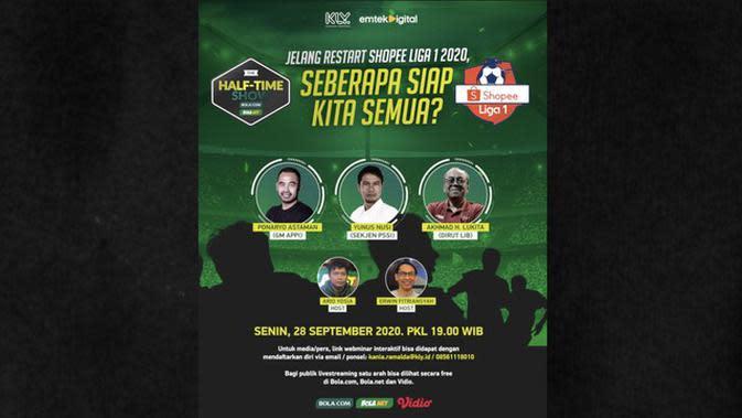 VIDEO: Jelang Restart Shopee Liga 1 2020, Jangan Lewatkan Half Time Show Live Senin 28 September