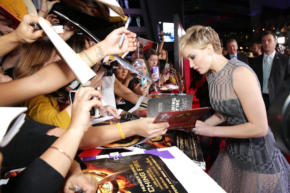 Jennifer Lawrence seen at Lionsgate's 'The Hunger Games: Catching Fire' Los Angeles Premiere, on Monday, Nov, 18, 2013 in Los Angeles. (Photo by Eric Charbonneau/Invision for Lionsgate/AP Images)