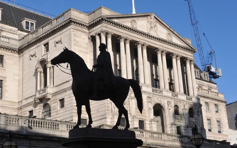 The main facade of the Bank of England