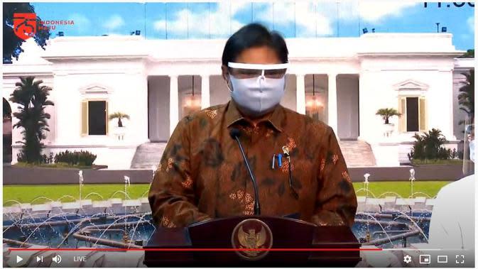 Menteri Koordinator Bidang Perekonomian Airlangga Hartarto ditunjuk untuk menyampaikan hasil Sidang Kabinet Paripurna yang berlangsung di Istana Merdeka, Jakarta Pusat pada Senin, 7 September 2020.