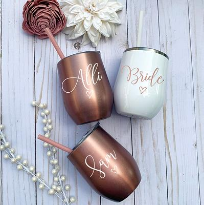 Bachelorette Party Stainless Steel Wine Tumbler Personalized Monogrammed Tumbler With Lid Rose Gold Wine Cups Bridesmaid Gift