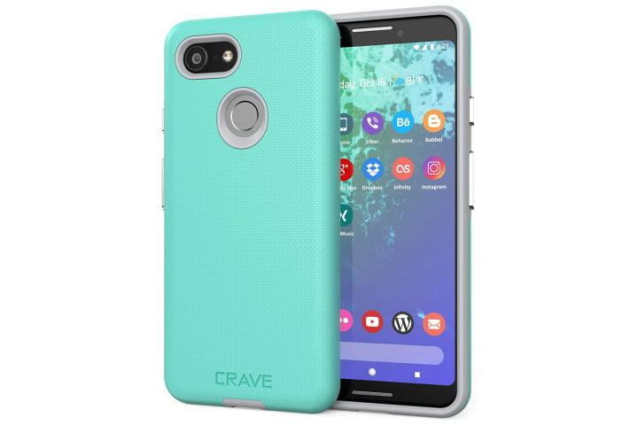 Picture shows a mint and grey colored phone case on a Google Pixel 3
