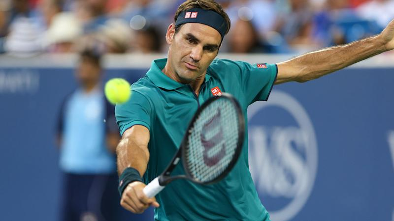 Roger Federer in action at the Cincinnati Masters. (Photo by Ian Johnson/Icon Sportswire via Getty Images)
