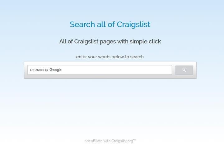 SearchCraigslist website screenshot