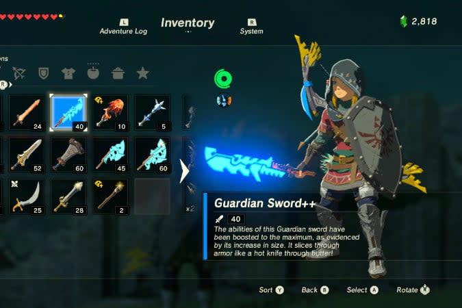 the legend of zelda breath wild best weapons ancient sword
