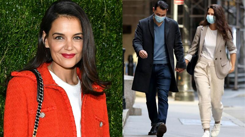 Katie Holmes wore a pair of $70 joggers and now we're best friends. Image via Getty Images.