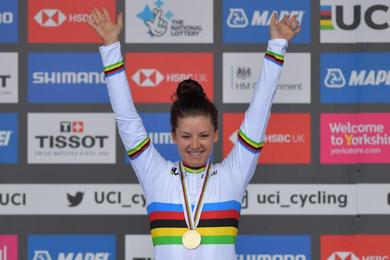 Chloe Dygert (USA) won the time trial in Yorkshire at the 2019 Worlds