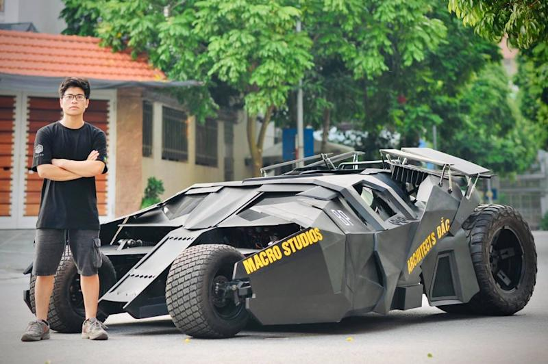 Architecture student Nguyen Dac Chung, 23, with his Batmobile. — Picture via Facebook/Nguyen Dac Chung