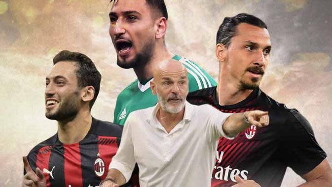 AC Milan - Ilustrasi Hakan Calhanoglu, Gianluigi Donnarumma, Stefano Pioli, Zlatan Ibrahimivoc (Bola.com/Adreanus Titus)