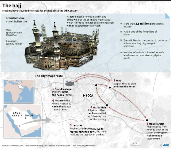 Graphic on the annual hajj, scheduled for the end of July this year