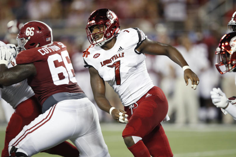 ORLANDO, FL - SEPTEMBER 01: Jonathan Greenard #7 of the Louisville Cardinals in action during a game against the Alabama Crimson Tide at Camping World Stadium on September 1, 2018 in Orlando, Florida. Alabama won 51-14. (Photo by Joe Robbins/Getty Images)