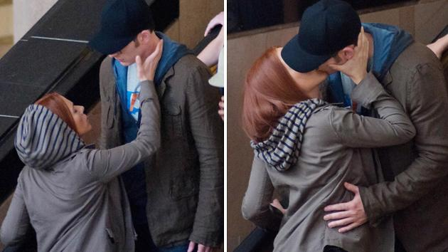 Superhero Smooch! Scarlett Johansson and Chris Evans Kiss on 'Captain America' Set