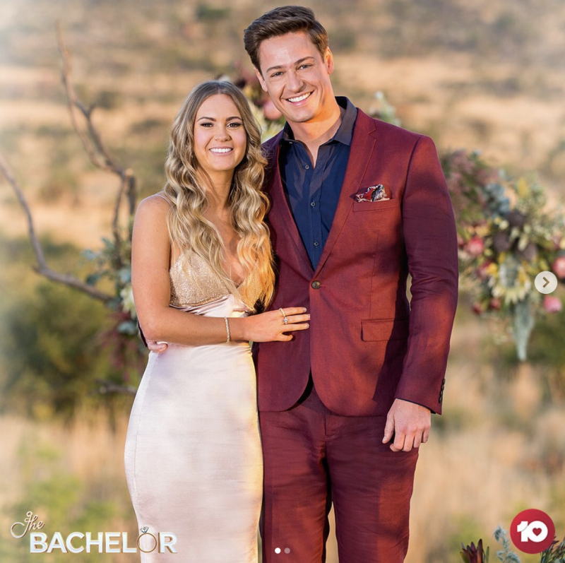 The happy couple: Matt Agnew poses with Chelsie McLeod, the winner of The Bachelor Australia 2019. Photo: Channel 10.