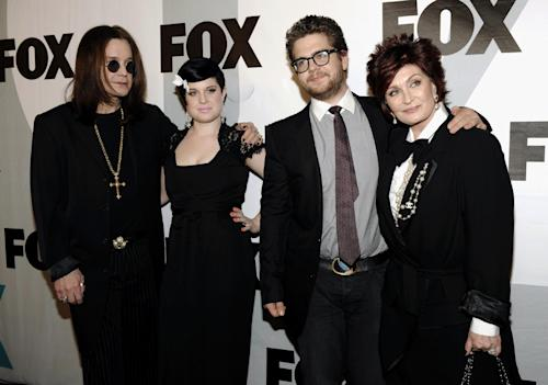 FILE - This Jan. 13, 2009 file photo shows the Osbournes, from left, Ozzy Osbourne, Kelly Osbourne, Jack Osbourne and Sharon Osbourne arriving at the FOX Winter All-Star Party in Los Angeles. Jack Osbourne is facing a diagnosis of multiple sclerosis. The former reality star and son of Ozzy and Sharon Osbourne revealed his health crisis in an interview with People released Sunday, June 17, 2012. He told the magazine he was angry and frustrated when he found out, and he's concerned about his family. (AP Photo/Chris Pizzello, file)