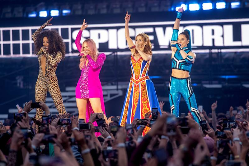 Mel B, Emma Bunton, Geri Halliwell and Melanie C of The Spice Girls perform on the first night of the bands tour at Croke Park on May 24, 2019 in Dublin, Ireland. (Photo by Dave J Hogan/Getty Images)