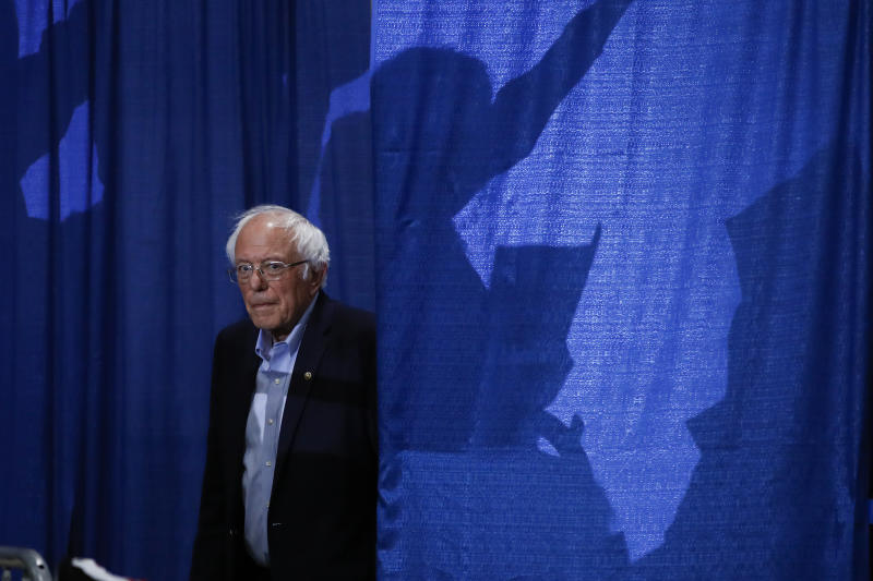 Democratic presidential candidate Sen. Bernie Sanders, I-Vt., arrives for a primary night election rally in Essex Junction, Vt., Tuesday, March 3, 2020. (AP Photo/Matt Rourke)