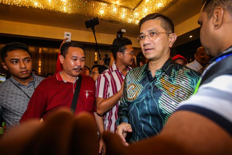 PKR deputy president Datuk Seri Azmin Ali arrives at the Sheraton Hotel in Petaling Jaya February 23, 2020. — Picture by Hari Anggara