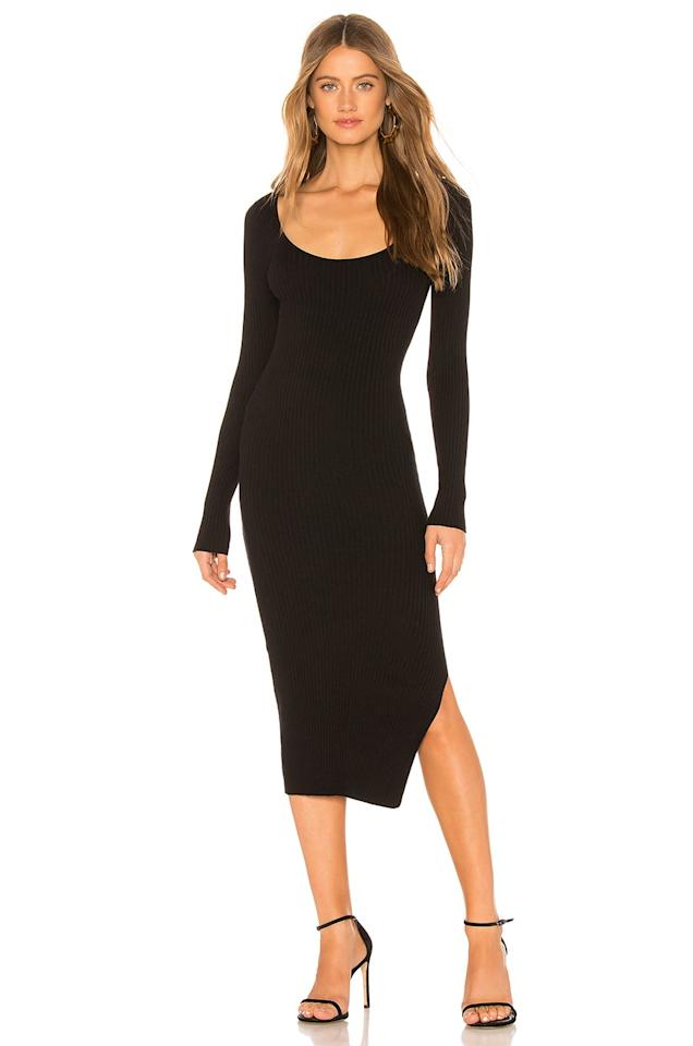 """<p>This <product href=""""https://www.revolve.com/lacademie-nessa-sweater-dress/dp/LCDE-WD170/?d=Womens&amp;page=1&amp;lc=9&amp;itrownum=3&amp;itcurrpage=1&amp;itview=05"""" target=""""_blank"""" class=""""ga-track"""" data-ga-category=""""internal click"""" data-ga-label=""""https://www.revolve.com/lacademie-nessa-sweater-dress/dp/LCDE-WD170/?d=Womens&amp;page=1&amp;lc=9&amp;itrownum=3&amp;itcurrpage=1&amp;itview=05"""" data-ga-action=""""body text link"""">L'Academie Nessa Sweater Dress</product> ($158) can be dressed up or down.</p>"""