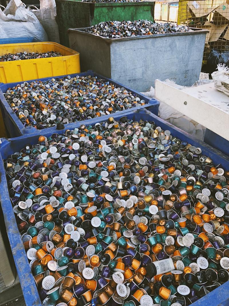 A picture of industrial bins filled with used coffee pods, shared on Twitter in 2017 by New Zealand MP Chlöe Swarbrick.