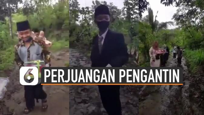 VIDEO: Penuh Perjuangan, Pengantin Pria dan Rombongan Hadapi Rintangan ke Acara Pernikahan