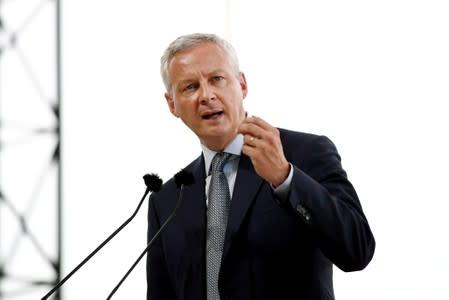 FILE PHOTO: French Finance Minister Bruno Le Maire delivers a speech at the MEDEF union summer forum renamed La Rencontre des Entrepreneurs de France, LaREF, at the Paris Longchamp Racecourse in Paris
