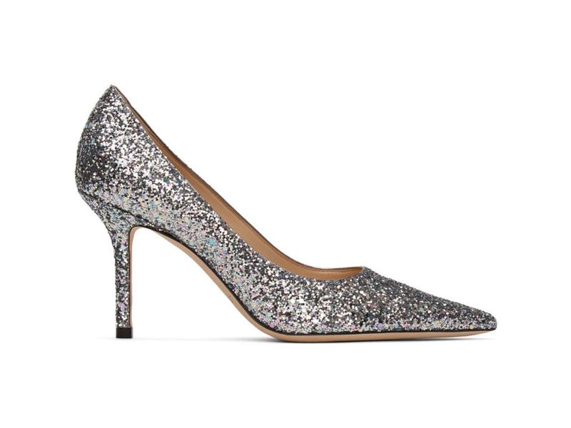 Jimmy Choo Silver Glitter Love 85 Heels. Image via Ssense.