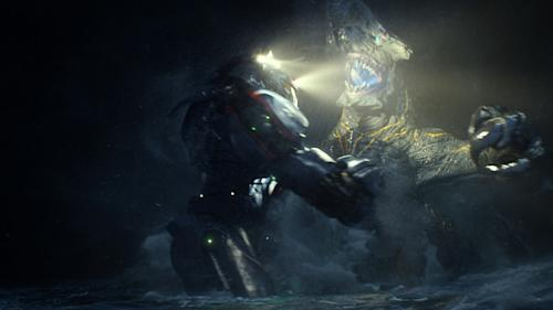 "This film publicity image released by Warner Bros. Pictures shows the Gipsy Danger robot battling the Knifehead monster in a scene from ""Pacific Rim."" ""Pacific Rim"" fulfills a very basic boyhood fantasy: big ol' robots and giant monsters slugging it out. The concept to Guillermo del Toro's ""Godzilla""-sized film is about as simple as it gets, but actually constructing such mammoth creations is a far more arduous undertaking. (AP Photo/Warner Bros. Pictures)"
