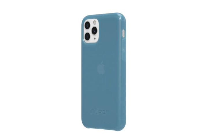 Photo shows the iPhone 11 Pro in a blue NGP Pure case from Incipio