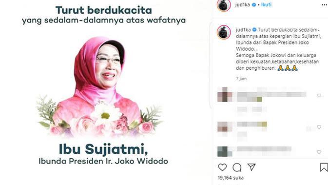 Ungkapan duka meninggalnya ibunda Presiden Jokowi dari para artis. (Sumber: Instagram/@jud1ka)
