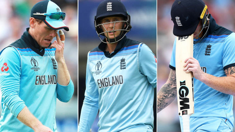 Eoin Morgan, Joe Root and Ben Stokes. Image: Getty