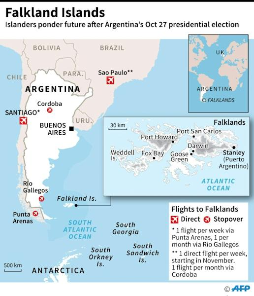 Map of the Falklands and flights between the islands and Argentina/Chile