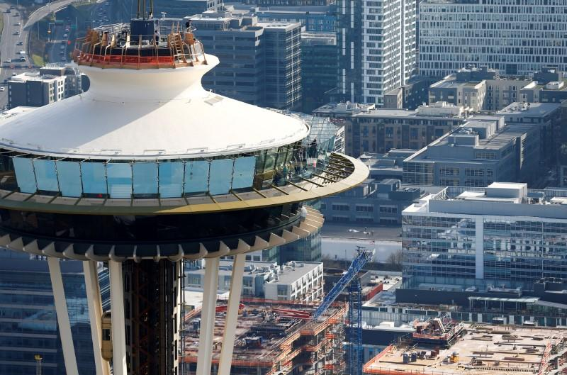FILE PHOTO: People take in the view from the top of the Space Needle in this aerial photo in Seattle