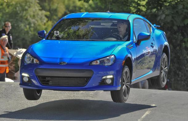 Catching air in the Subaru BRZ on the Isle of Man
