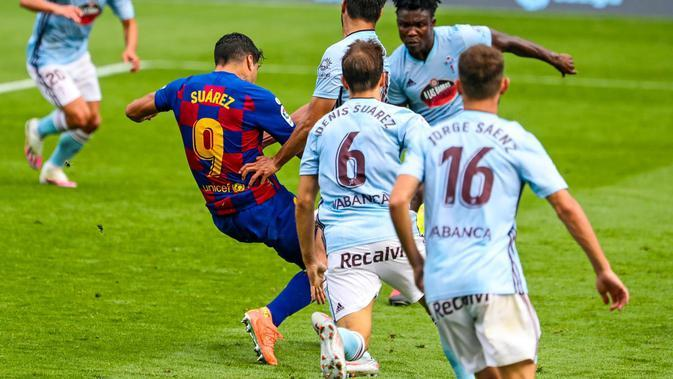 Penyerang Barcelona, Luis Suarez saat beraksi di kandang Celta Vigo. (Twitter Barcelon)