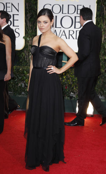 Actress Mila Kunis arrives at the 69th annual Golden Globe Awards in Beverly Hills