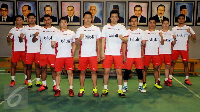 Pebulutangkis putera Indonesia yang berlaga pada Thomas Cup 2016. (Liputan6.com/Helmi Fithriansyah)