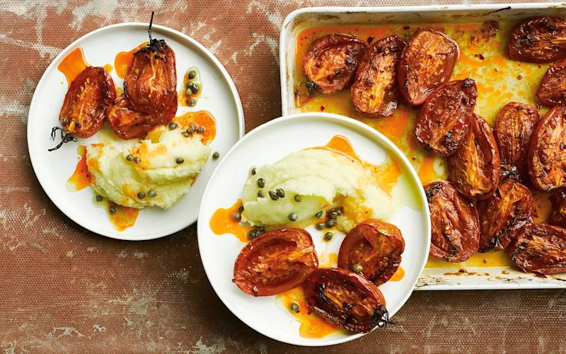 Slow-roasted tomatoes with potato skordalia and capers  - Haarala Hamilton and Valerie Berry