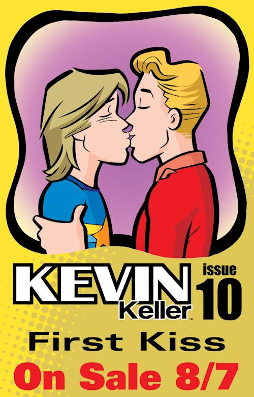 "This comic book image released by Archie Comics shows issue 10 of ""Kevin Keller"" featuring openly-gay character Kevin Keller, right, kissing his boyfriend Devon. The issue will go on sale on Aug. 7. (AP Photo/Archie Comics)"