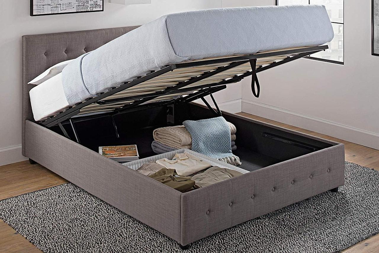 "<p>Store extra sheets, blankets, and more in this <a href=""https://www.popsugar.com/buy/DHP-Cambridge-Upholstered-Linen-Platform-Bed-559530?p_name=DHP%20Cambridge%20Upholstered%20Linen%20Platform%20Bed&retailer=amazon.com&pid=559530&price=579&evar1=casa%3Aus&evar9=46000214&evar98=https%3A%2F%2Fwww.popsugar.com%2Fhome%2Fphoto-gallery%2F46000214%2Fimage%2F46000370%2FDHP-Cambridge-Upholstered-Linen-Platform-Bed&list1=shopping%2Cfurniture%2Corganization%2Cbeds%2Cbedrooms%2Csmall%20space%20living%2Chome%20shopping&prop13=api&pdata=1"" rel=""nofollow"" data-shoppable-link=""1"" target=""_blank"" class=""ga-track"" data-ga-category=""Related"" data-ga-label=""https://www.amazon.com/DHP-Cambridge-Upholstered-Platform-Headboard/dp/B01M6X16PK/ref=sr_1_2?dchild=1&amp;keywords=Upholstered+Bed+Frame+With+Under+Bed+Storage&amp;qid=1585001489&amp;sr=8-2"" data-ga-action=""In-Line Links"">DHP Cambridge Upholstered Linen Platform Bed</a> ($579).</p>"