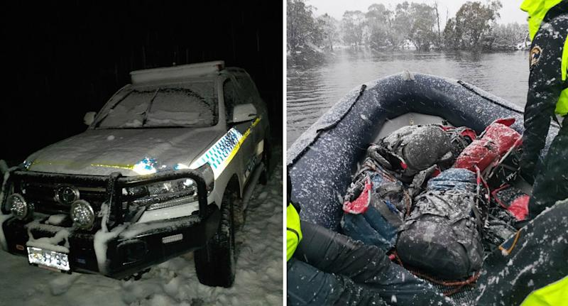 Photo of a police vehicle covered in ice, and officers taking on the snow in a dinghy in Tasmania.