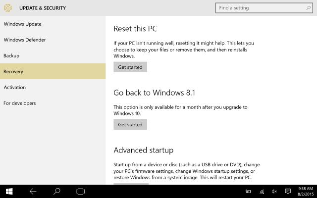uninstall windows 10 go back to windows 8.1