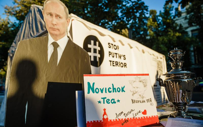 Opposition activists have staged a protest in Alexei Navalny's support outside the Russian embassy in Berlin - Clemens Bilan/EPA-EFE