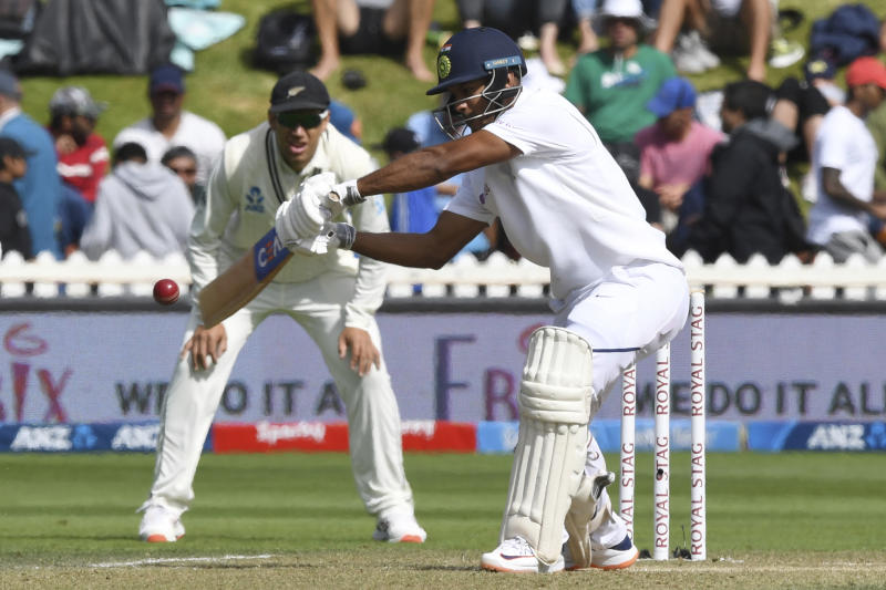 India's Mayank Agarwal bats against New Zealand during the first cricket test between India and New Zealand at the Basin Reserve in Wellington, New Zealand, Sunday, Feb. 23, 2020. (AP Photo/Ross Setford)