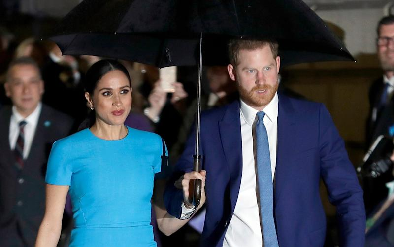 Meghan Markle and Prince Harry arrive at the Endeavour Fund Awards in London in March - AP