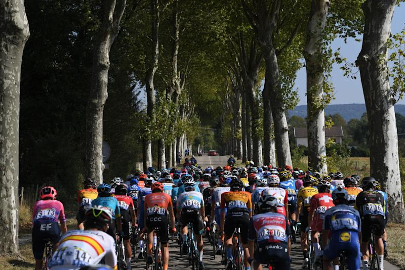 CHAMPAGNOLE FRANCE SEPTEMBER 18 Peloton Forest Landscape during 107th Tour de France 2020 Stage 19 a 1665km stage from Bourg en Bresse to Champagnole 547m TDF2020 LeTour on September 18 2020 in Champagnole France Photo by Tim de WaeleGetty Images
